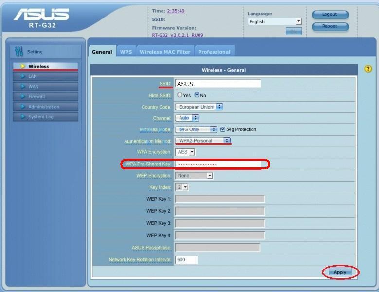 Роутер Asus: как поменять WiFi пароль